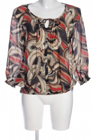 Flame Langarm-Bluse abstraktes Muster Casual-Look