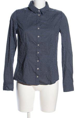 Flame Langarm-Bluse schwarz-weiß Allover-Druck Business-Look