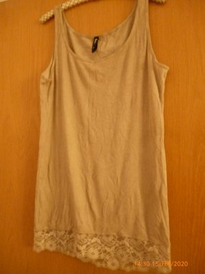 Flame Haut long chameau-beige tissu mixte