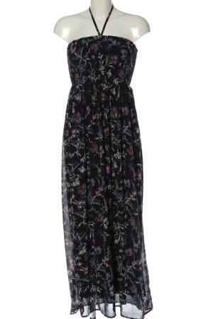 Flame Robe longue noir-rose imprimé allover style décontracté