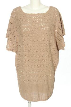 Flame Sweter oversize nude Warkoczowy wzór W stylu casual