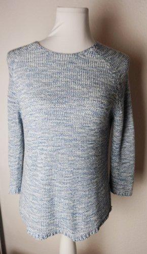 Flame Pull tricoté blanc-bleuet coton