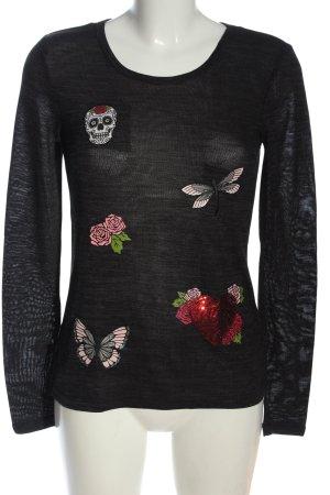 Flame Sweter z okrągłym dekoltem czarny Nadruk z motywem W stylu casual