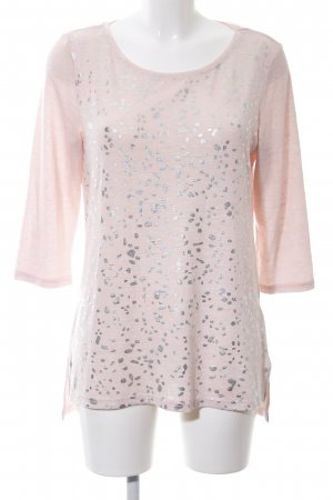Flame Rundhalspullover pink-silberfarben Allover-Druck Casual-Look