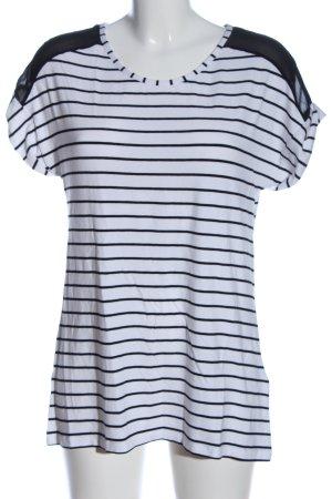Flame Schlupf-Bluse weiß-schwarz Streifenmuster Casual-Look