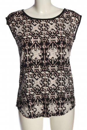 Flame Schlupf-Bluse schwarz-wollweiß grafisches Muster Casual-Look