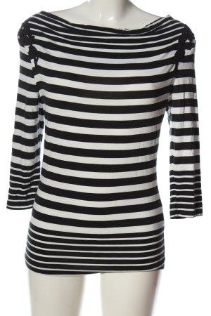 Flame Schlupf-Bluse schwarz-weiß Streifenmuster Casual-Look