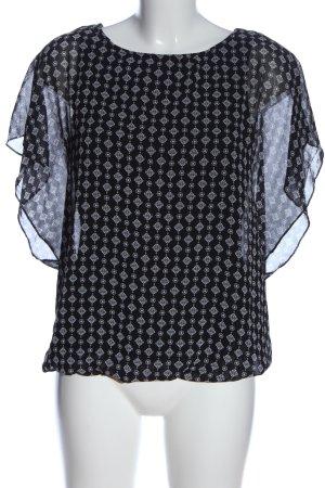 Flame Schlupf-Bluse schwarz-weiß Allover-Druck Casual-Look