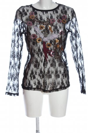 Flame Blusa in merletto motivo floreale stile casual