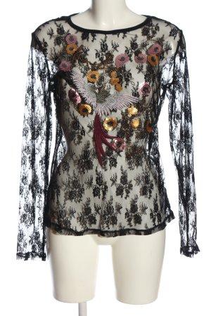 Flame Koronkowa bluzka biały-czarny Wzór w kwiaty Ekstrawagancki styl