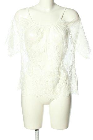 Flame Blusa in merletto bianco motivo animale stile casual
