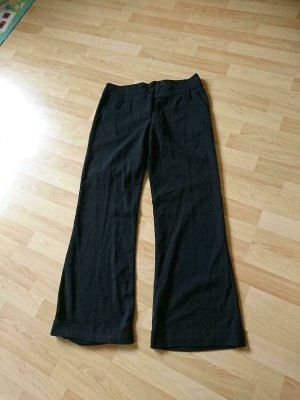 Flame Spodnie materiałowe czarny Wiskoza