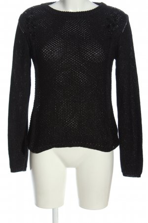 Flame Strickpullover schwarz Zopfmuster Casual-Look