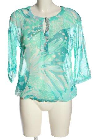 Flame Blouse transparente turquoise-blanc cassé motif abstrait élégant