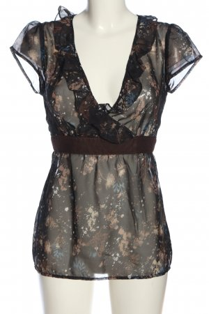Flame Transparenz-Bluse Allover-Druck Casual-Look
