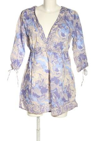 Flame Blusa a tunica crema-lilla motivo astratto stile casual