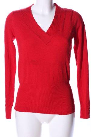 Flame V-Ausschnitt-Pullover rot Casual-Look
