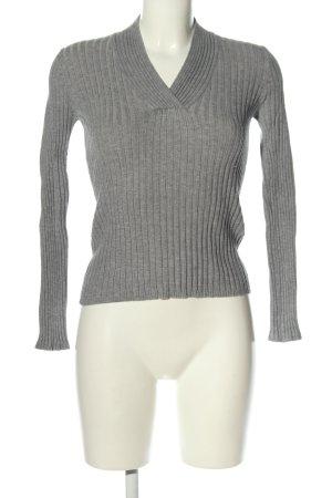 Flame V-Ausschnitt-Pullover hellgrau Casual-Look