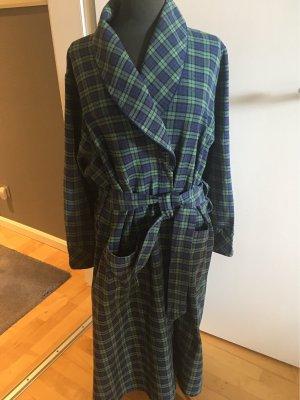 Lee Valley Irland Dressing Gown dark blue-khaki cotton