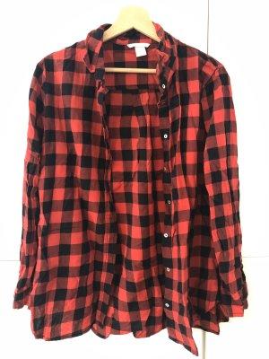 H&M Camicia da boscaiolo nero-rosso