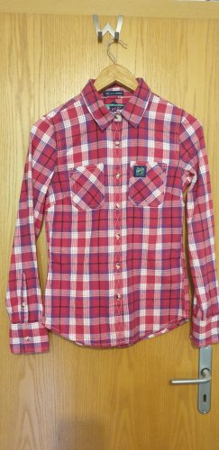 Superdry Flannel Shirt magenta-white