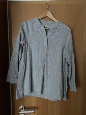 Uniqlo Camisa de franela gris claro
