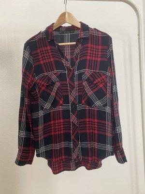 Zara Camisa de franela negro-rojo ladrillo