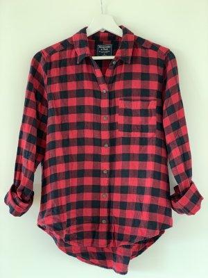 Abercrombie & Fitch Camisa de franela negro-rojo