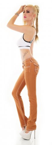 Flap Pocket Jeans/Bootcut - Caramel/Braun - Größe L 38/40
