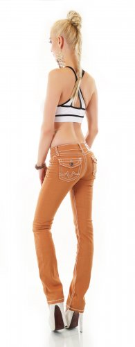 Fashion Denim Pantalone a zampa d'elefante multicolore Cotone