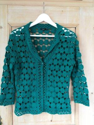 Fransa Coarse Knitted Jacket petrol-dark green
