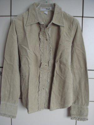 Flash Lights - Cord Bluse Jäckchen Jacke mit Rüschen Gr. 40 - beige