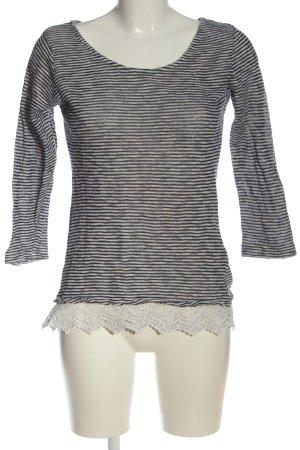 FlashLights Feinstrickpullover weiß-schwarz Streifenmuster Casual-Look
