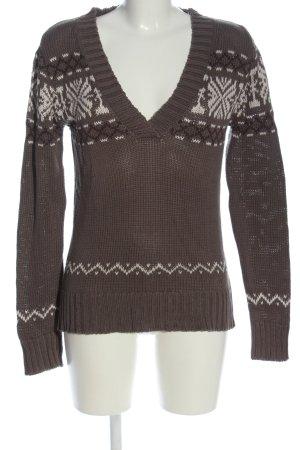 FlashLights V-Ausschnitt-Pullover braun-weiß grafisches Muster Casual-Look