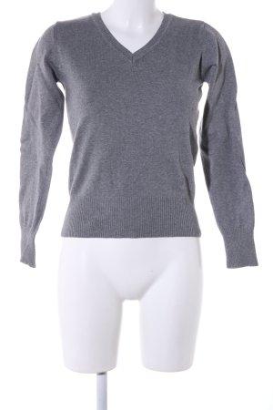 FlashLights V-Ausschnitt-Pullover hellgrau meliert Business-Look