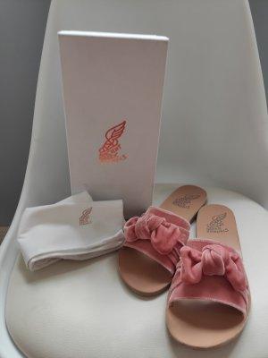 Ancient greek sandals Chaussons de bain crème-rosé cuir