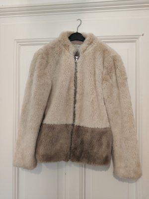 Zara Fake Fur Jacket grey brown-oatmeal