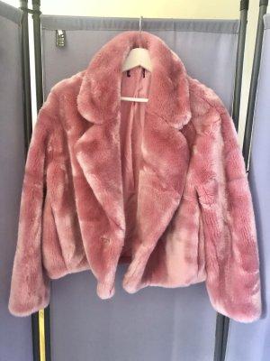 Zara Veste de fourrure rose polyester