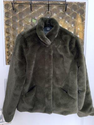 Flauschige Jacke - Gr. L - dunkelgrün