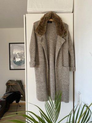 Zara Płaszcz z dzianiny szaro-brązowy