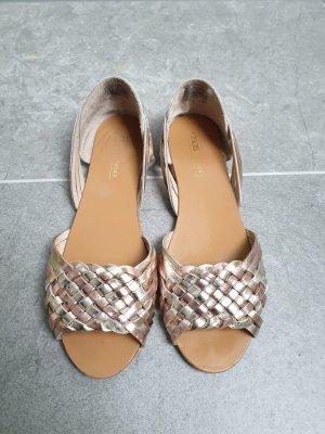 Flecht Leder Sandalen in Metallic Optik Gr. 39