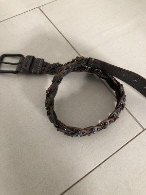 Cintura intrecciata marrone scuro-argento