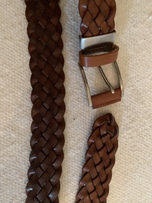 Braided Belt light brown-brown leather