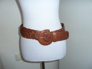 Cinturón trenzado rojo amarronado Cuero