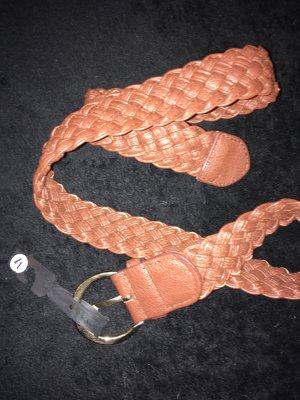 Cinturón trenzado marrón-coñac