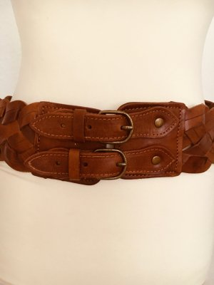 Hallhuber Braided Belt brown-cognac-coloured leather
