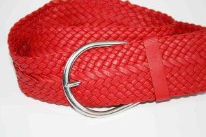 Cinturón trenzado rojo-color plata Imitación de cuero