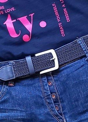 Cinturón trenzado azul oscuro-color plata