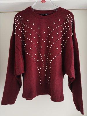 Fledermaus Langarm Shirt Pullover mit Perlen in Weinrot Gr. M