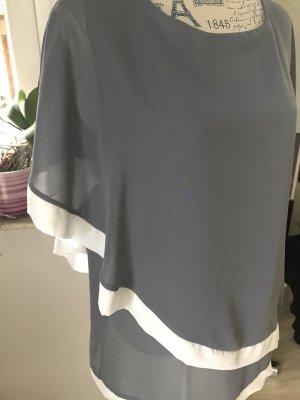 Blouse oversized argenté-blanc